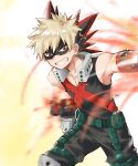 1boy bakugou_katsuki big_cat_shan blonde_hair boku_no_hero_academia clenched_hand clenched_teeth explosive grenade highres male_focus mask punching red_eyes spiky_hair standing teeth