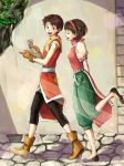 1boy 1girl arms_behind_back belt breasts brother_and_sister brown_eyes brown_hair chaiko commentary_request gensou_suikoden gensou_suikoden_ii gloves hairband nanami_(suikoden) riou short_hair siblings