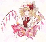 1girl alternate_costume bangs blonde_hair bow crystal flandre_scarlet flower frilled_shirt frilled_sleeves frills hat highres jewelry kyogoku-uru medium_hair mob_cap puffy_short_sleeves puffy_sleeves red_bow red_eyes red_ribbon red_vest ribbon shirt short_sleeves side_ponytail simple_background solo touhou vest white_shirt wings wrist_cuffs
