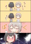 2girls 4koma :t :| =3 aoba_moka bang_dream! bangs biting black_hair blue_eyes blush bob_cut clenched_hand closed_eyes closed_mouth comic commentary_request eyebrows_visible_through_hair finger_biting finger_in_another's_mouth grey_hair grey_shirt highres jitome kyou_(user_gpks5753) mitake_ran multicolored_hair multiple_girls pointing redhead rock_paper_scissors shirt short_hair streaked_hair striped striped_shirt t-shirt translation_request v vertical-striped_shirt vertical_stripes violet_eyes white_shirt