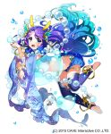 1girl :o absurdly_long_hair absurdres air_bubble akiru_(hokuouhuuhu) anklet bangle blue_eyes blue_footwear blue_hair blue_legwear bracelet bubble coral_hair_ornament gothic_wa_mahou_otome gradient_hair hand_up highres jewelry long_hair looking_at_viewer midriff multicolored_hair official_art purple_hair seashell see-through shell silk solo very_long_hair watermark