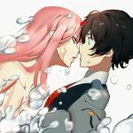 1boy 1girl bangs black_hair bubble clothed_male_nude_female couple darling_in_the_franxx face-to-face facing_another forehead-to-forehead green_eyes hetero hiro_(darling_in_the_franxx) horns long_hair long_sleeves looking_at_another military military_uniform necktie nude oni_horns pink_hair red_horns red_neckwear shirtless short_hair uniform water wet zero_two_(darling_in_the_franxx) zerokiller002