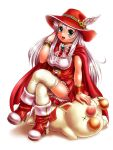 1girl :d aqua_eyes blush boots bracelet cape final_fantasy final_fantasy_iii hand_up hat hat_ornament high_heel_boots high_heels jewelry legs_crossed long_hair lying moogle moriichi on_stomach open_mouth red_cape red_footwear red_hat red_mage red_skirt sidelocks simple_background sitting skirt smile unconscious very_long_hair white_hair white_legwear