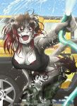 animal_ears black_hair breasts furry highres large_breasts red_eyes redhead tail