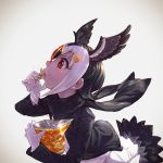 1girl atlantic_puffin_(kemono_friends) bangs bird_tail bird_wings black_hair black_jacket black_scarf blonde_hair bright_pupils chips eating eyebrows_visible_through_hair feathered_wings food from_side gloves head_wings highres jacket japari_chips kemono_friends long_sleeves multicolored_hair nose open_clothes open_jacket potato_chips profile red_eyes redhead scarf short_hair solo takami_masahiro upper_body white_gloves white_hair white_pupils wings