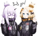 2girls abigail_williams_(fate/grand_order) abigail_williams_(fate/grand_order)_(cosplay) alternate_hairstyle bags_under_eyes bangs black_bow black_jacket blonde_hair blue_eyes blush bow closed_mouth cosplay crossed_bandaids english fate/grand_order fate_(series) hair_between_eyes hair_bow hair_bun hand_up horn jacket lavinia_whateley_(fate/grand_order) long_hair long_sleeves middle_finger multiple_girls object_hug orange_bow parted_bangs polka_dot polka_dot_bow silver_hair simple_background sleeves_past_wrists stuffed_animal stuffed_toy teddy_bear tongue tongue_out umineco violet_eyes white_background wide-eyed