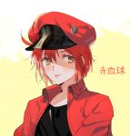 1girl ae-3803 ahoge beret black_shirt character_name hat hataraku_saibou jacket lips noppp portrait red_blood_cell_(hataraku_saibou) red_jacket redhead shirt short_hair signature smile solo t-shirt yellow_eyes
