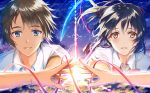 1boy 1girl black_hair blue_eyes bow bowtie brown_eyes brown_hair crying crying_with_eyes_open eyebrows_visible_through_hair floating_hair hair_between_eyes hair_ribbon kimi_no_na_wa long_hair looking_at_viewer miyamizu_mitsuha morizono_shiki parted_lips ponytail red_bow red_ribbon ribbon school_uniform shirt short_sleeves sky smile star_(sky) starry_sky sunlight tachibana_taki tears white_shirt