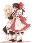 2girls apron bangs black_dress black_footwear black_hair blonde_hair blush bow braid brown_eyes brown_hair buttons detached_sleeves dress frilled_dress frills full_body hair_between_eyes hair_bow hair_tubes hakurei_reimu hat juliet_sleeves kirisame_marisa kosencha large_bow long_hair long_sleeves mary_janes multiple_girls puffy_sleeves shoes short_sleeves side_braid simple_background single_braid skirt skirt_set smile socks standing touhou vest waist_apron walking white_background white_legwear yellow_eyes