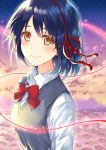 1girl blue_hair bow bowtie brown_eyes clouds eyebrows_visible_through_hair grey_vest hair_between_eyes hair_ribbon hairband kimi_no_na_wa looking_at_viewer miyamizu_mitsuha morizono_shiki red_bow red_hairband red_ribbon ribbon school_uniform shirt short_hair sky smile solo star_(sky) starry_sky tears upper_body vest white_shirt