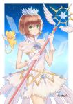 1girl azgby brown_hair card_captor_sakura cowboy_shot dress eyebrows_visible_through_hair feathered_wings gloves green_eyes hair_between_eyes highres holding holding_staff kero kinomoto_sakura shiny shiny_hair short_dress short_hair sleeveless sleeveless_dress smile solo staff standing white_dress white_gloves white_wings wings