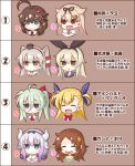 6+girls ahoge amatsukaze_(kantai_collection) aqua_hair beads blonde_hair blue_eyes braid brown_eyes brown_hair closed_eyes commentary_request dragon_horns einhart_stratos empty_eyes face fang flower hair_beads hair_flaps hair_flower hair_ornament hair_tubes hairband hat heart heart_in_mouth heterochromia horns kanna_kamui kantai_collection kobayashi-san_chi_no_maidragon lavender_hair lyrical_nanoha mahou_shoujo_lyrical_nanoha_vivid male-female_symbol mars_symbol multiple_girls musouzuki open_mouth pink_hair ponytail red_eyes ribbon saikawa_riko shigure_(kantai_collection) shimakaze_(kantai_collection) smile translation_request twintails two_side_up venus_symbol vivio yuudachi_(kantai_collection)