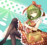 1girl alternate_costume bag bangs black_legwear bow breasts commentary_request contemporary dress_shirt eyebrows_visible_through_hair feet_out_of_frame frilled_ribbon frills front_ponytail gradient gradient_background green_eyes green_hair hair_bow hair_ribbon handbag hands_clasped interlocked_fingers kagiyama_hina long_hair looking_at_viewer medium_breasts no_shoes open_mouth own_hands_together parted_lips polka_dot polka_dot_background polka_dot_shirt polka_dot_skirt red_bow red_ribbon red_shirt red_skirt ribbon shiro_1213 shirt skirt skirt_set sleeveless solo thigh-highs touhou