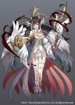 1girl angel_wings armor blue_eyes breasts brown_hair feathered_wings feathers full_body garter_belt gloves grey_background grimms_notes hair_feathers halo holding holding_spear holding_weapon long_hair long_sleeves looking_at_viewer medium_breasts multicolored_hair official_art polearm sakanahen simple_background solo spear streaked_hair watermark weapon white_gloves white_hair white_legwear white_wings wings