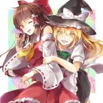 2girls :d apron arm_grab black_hat black_skirt blonde_hair bow bowtie breasts brown_hair detached_sleeves eyebrows_visible_through_hair floating_hair frilled_apron frilled_skirt frills green_bow hair_between_eyes hair_bow hair_tubes hakurei_reimu hat highres kirisame_marisa leaning_forward long_hair looking_at_viewer medium_breasts multiple_girls open_mouth red_bow red_eyes red_shirt red_skirt ribbon-trimmed_sleeves ribbon_trim sarashi shiny shiny_hair shirt shometsu-kei_no_teruru short_sleeves sidelocks skirt sleeveless sleeveless_shirt smile touhou white_apron white_shirt witch_hat yellow_eyes