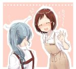 ... 2girls :d ^_^ apron bang_dream! bangs blue_hair blush brown_apron brown_hair closed_eyes collared_shirt commentary_request hazawa_tsugumi hikawa_sayo long_hair messy_hair muchise multiple_girls nose_blush open_mouth outline pink_background ponytail shirt short_hair sidelocks sleeves_pushed_up smile translated upper_teeth white_outline white_shirt