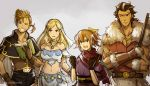 2boys 2girls alfyn_(octopath_traveler) alternate_costume blonde_hair blush bracelet brown_hair dancer dress gloves green_eyes gzei hair_over_one_eye hat jewelry long_hair multiple_boys multiple_girls necklace octopath_traveler olberic_eisenberg one_eye_closed open_mouth ophilia_(octopath_traveler) ponytail short_hair simple_background smile tressa_(octopath_traveler)