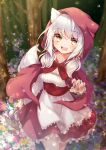 1girl :d animal_ears apron bangs basket black_nails blush breasts claw_pose cloak commentary_request cowboy_shot dress eyebrows_visible_through_hair fang field flower flower_field forest gomano_rio highres holding holding_basket hood hood_up hooded_cloak long_hair looking_at_viewer medium_breasts nail_polish nature open_mouth original outdoors red_dress silver_hair smile solo swept_bangs tail wolf_ears wolf_tail yellow_eyes