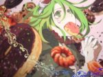 1girl blurry close-up crying crying_with_eyes_open depth_of_field dessert donut_hole_(vocaloid) doughnut eating face fingernails food goggles goggles_on_head green_eyes green_hair gumi hands_clasped hands_together interlocked_fingers jewelry looking_up madori_(sayuri5) necklace own_hands_together pearl_necklace pink_background red_neckwear short_hair simple_background solo_focus tears upper_body vocaloid