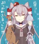 1girl amatsukaze_(kantai_collection) antlers blue_background brown_dress brown_eyes choker dress fish hair_tubes hat kantai_collection lifebuoy long_hair looking_at_viewer mini_hat reindeer sailor_dress signature silver_hair simple_background smile sparkle strangling tahya translation_request two_side_up upper_body windsock