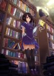 1girl absurdres black_cat black_hair black_legwear book book_stack bookshelf breasts cat gloves highres key leaning_back leaning_on_object library looking_at_viewer medium_breasts okuto original pleated_skirt red_eyes short_hair skirt smile solo thigh-highs