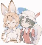 2girls animal_ear_fluff animal_ears backpack bag bare_shoulders belt black_hair blonde_hair blush bucket_hat closed_eyes elbow_gloves eyebrows_visible_through_hair feathers gloves hat high-waist_skirt highres holding_strap kaban_(kemono_friends) kemono_friends laughing looking_at_another multicolored_hair multiple_girls serval_(kemono_friends) serval_ears serval_print serval_tail shirt short_hair short_sleeves skirt sleeveless t-shirt tail waterliryppp