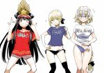 3girls \n/ artoria_pendragon_(all) bikini_bottom black_bikini_bottom black_hair black_legwear black_ribbon blonde_hair blue_eyes blue_shirt blue_swimsuit blush braid brown_shorts clothes_writing commentary_request double_\n/ eyebrows_visible_through_hair fate/grand_order fate_(series) grin hair_ribbon hand_on_hip hat headpiece jeanne_d'arc_(fate) jeanne_d'arc_(fate)_(all) kurose_kousuke long_hair looking_at_viewer midriff multiple_girls navel no_pants oda_nobunaga_(fate) one_eye_closed peaked_cap red_eyes red_shirt ribbon saber_alter shirt short_hair short_shorts short_sleeves shorts side-tie_bikini_bottom single_braid smile smug sparkle sweatdrop swimsuit swimsuit_under_clothes t-shirt thigh-highs thigh_gap tied_hair translation_request very_long_hair wavy_mouth white_shirt yellow_eyes