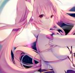1girl aisha_(elsword) bow breasts brown_eyes character_request cleavage detached_sleeves elsword eyebrows_visible_through_hair floating_hair hair_between_eyes hair_ornament highres llg062666 long_hair looking_at_viewer medium_breasts parted_lips pink_hair purple_bow smile solo twintails upper_body very_long_hair