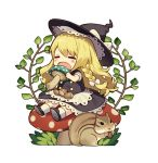 1girl =_= acorn apron bangs black_footwear black_hat blonde_hair blush bow braid branch chibi closed_eyes commentary_request food full_body hair_bow hat hat_bow holding holding_food kirisame_marisa lace_trim leaf long_hair misoni_comi mushroom open_mouth petticoat puffy_short_sleeves puffy_sleeves shoes short_sleeves simple_background single_braid sitting socks solo squirrel touhou waist_apron white_background white_bow white_legwear witch_hat