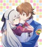 1boy 1girl ao_no_kiseki arms_around_back blocking_kiss blush breasts brown_eyes brown_hair couple covering_another's_mouth eiyuu_densetsu elie_macdowell embarrassed green_eyes hairband hetero jacket lloyd_bannings long_hair long_sleeves medium_breasts patterned_background shirt short_hair silver_hair tekutonbo upper_body zero_no_kiseki