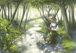 1girl animal_ears basket cat_food commentary fishing forest gnome hat imoman nature original scenery silver_hair sitting straw_hat stream tail tree
