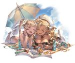 2girls almeida_(granblue_fantasy) alpha_transparency bangs barefoot beach_umbrella bikini black_bikini blonde_hair blush book bottle bracelet breasts choker cleavage clouds collarbone cooler crystal dark_skin day dolphin_earrings draph earrings flower full_body gradient_hair granblue_fantasy hair_between_eyes hair_flower hair_ornament hat horns io_euclase jewelry large_breasts long_hair lying minaba_hideo multicolored_hair multiple_girls necklace official_art on_stomach open_mouth outdoors pointy_ears red_ribbon ribbon ribbon_choker seashell shell sky smile swimsuit transparent_background twintails umbrella very_long_hair white_hat
