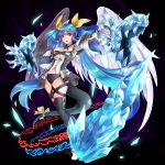 1girl asymmetrical_wings bangs belt black_background blue_hair choker dizzy eriko eyebrows_visible_through_hair guilty_gear hair_ornament hair_ribbon hand_on_own_chest ice long_hair navel open_mouth outstretched_arm red_eyes ribbon simple_background skindentation solo tail tail_ribbon thigh-highs wings yellow_ribbon