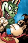 2boys animal bloodshot_eyes blue_background cape clenched_hand cosmicam crocodile crocodilian crown donkey_kong donkey_kong_(series) donkey_kong_country evil_smile eye_contact fangs gorilla highres jojo_no_kimyou_na_bouken king_k._rool looking_at_another multiple_boys necktie no_humans parody red_cape simple_background sketch smile stardust_crusaders style_parody super_smash_bros. super_smash_bros_ultimate