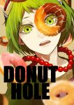 1girl blurry close-up commentary copyright_name depth_of_field dessert donut_hole_(vocaloid) doughnut english_commentary face food goggles goggles_on_head green_eyes green_hair grey_background gumi hasuhasuhasu0127 highres jewelry looking_at_viewer necklace open_mouth pearl_necklace red_neckwear short_hair simple_background solo_focus teeth upper_body vocaloid