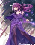1girl bk201 breasts brown_legwear choker cleavage diadem dress eyebrows_visible_through_hair fate/grand_order fate_(series) floating_hair hair_between_eyes hand_holding jewelry large_breasts long_dress long_hair necklace pantyhose purple_capelet purple_dress purple_hair red_eyes runes scathach_(fate)_(all) scathach_skadi_(fate/grand_order) see-through solo standing very_long_hair