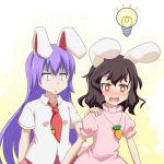 +_+ 2girls :d animal_ears black_hair blush bunny_tail carrot_necklace cato_(monocatienus) commentary_request dress hand_on_another's_shoulder inaba_tewi light_bulb long_hair looking_away multiple_girls necktie open_mouth pink_dress puffy_short_sleeves puffy_sleeves purple_hair rabbit_ears red_eyes red_neckwear reisen_udongein_inaba shirt short_hair short_sleeves simple_background smile tail touhou turn_pale white_shirt