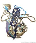 1girl alice_(sinoalice) axe blue_hair chains cleavage_cutout expressionless eyebrows_visible_through_hair full_body fur_trim hair_ribbon hairband huge_weapon ji_no looking_at_viewer official_art orange_eyes parted_lips ribbon short_hair shoulder_armor sinoalice solo thigh-highs torn_clothes torn_thighhighs weapon white_background