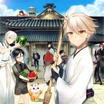 1other 6+boys ^_^ ahoge architecture basket bell bell_collar bell_pepper black_gloves black_hair blue_eyes blue_sky broom brown_hair closed_eyes closed_eyes collar cucumber east_asian_architecture food fox fruit gloves grin hakama honebami_toushirou horikawa_kunihiro houhou_(black_lack) izumi-no-kami_kanesada japanese_clothes katsugeki/touken_ranbu konnosuke multiple_boys mutsu-no-kami_yoshiyuki namazuo_toushirou necktie one_eye_closed open_mouth pepper ponytail redhead saniwa_(katsugeki/touken_ranbu) shorts sky smile suspenders tomato tonbokiri_(touken_ranbu) touken_ranbu tsurumaru_kuninaga violet_eyes watermelon waving white_hair yagen_toushirou yellow_eyes