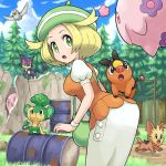 1girl :d :o animal animal_on_back ass bag bel_(pokemon) blonde_hair blue_sky breasts clouds creatures_(company) day drum_(container) eye_contact fence flying game_freak gen_5_pokemon grass green_eyes green_hat handbag hat leaning_forward lillipup looking_at_another looking_back munna musharna nintendo open_mouth outdoors pansage pidove pokemoa pokemon pokemon_(creature) pokemon_(game) pokemon_bw puffy_short_sleeves puffy_sleeves purrloin revision rock short_sleeves skirt sky smile tepig tree white_wristband wristband