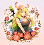 bangs baseball_cap bird blonde_hair blue_hair breasts cleavage floral_background flower gradient_hair green_eyes green_hair hat heterochromia horns kobayashi-san_chi_no_maidragon large_breasts longestdistance messy_hair multicolored multicolored_eyes multicolored_hair quetzalcoatl_(maidragon) red_eyes smile tank_top