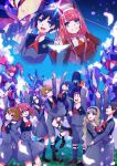5boys 5girls ahoge argentea_(darling_in_the_franxx) bangs bird black_hair blonde_hair blue_eyes blue_hair blue_horns blue_sky blush breasts brown_footwear brown_hair cherry_blossoms chlorophytum closed_eyes clouds cloudy_sky commentary_request couple darling_in_the_franxx day delphinium_(darling_in_the_franxx) dress eyebrows_visible_through_hair floating_hair flower food futoshi_(darling_in_the_franxx) genista_(darling_in_the_franxx) glasses gorou_(darling_in_the_franxx) grass green_eyes grey_dress grey_legwear grey_shirt grey_shorts hair_ornament hairband hand_holding hand_on_another's_hip hand_on_another's_leg hand_on_another's_waist hand_on_hip hand_on_own_chest hand_on_thigh hand_up hetero hiro_(darling_in_the_franxx) holding holding_food holding_leg horns hug ichigo_(darling_in_the_franxx) ikuno_(darling_in_the_franxx) interlocked_fingers kokoro_(darling_in_the_franxx) light_brown_hair locked_arms long_hair long_sleeves looking_up mecha medium_breasts miku_(darling_in_the_franxx) military military_uniform mitsuru_(darling_in_the_franxx) multiple_boys multiple_girls necktie oni_horns orange_neckwear petals pink_hair ponytail purple_hair purple_hairband red_dress red_horns red_neckwear redhead shirt shoes short_hair shorts sky small_breasts socks strelizia thick_eyebrows thighs tree twintails uniform violet_eyes white_hairband yoshi2_oide zero_two_(darling_in_the_franxx) zorome_(darling_in_the_franxx)