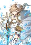1girl bangs breasts brown_eyes brown_hair cleavage closed_mouth commentary_request cosplay djeeta_(granblue_fantasy) dress eyebrows_visible_through_hair flower granblue_fantasy hair_between_eyes hair_flower hair_ornament holding holding_sword holding_weapon looking_at_viewer medium_breasts ragho_no_erika rose signature simple_background smile solo standing strapless strapless_dress sword the_glory the_glory_(cosplay) thigh-highs water_drop weapon white_background white_dress white_flower white_legwear white_rose