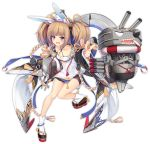 1girl adapted_costume aixioo anchor_symbol animal_ears azur_lane bare_shoulders breasts brown_hair cannon collarbone detached_sleeves fang full_body hair_ornament kagerou_(azur_lane) long_hair looking_at_viewer machinery official_art open_mouth pointing pointing_at_viewer rabbit_ears rigging small_breasts solo torpedo transparent_background turret twintails violet_eyes white_legwear wide_sleeves