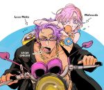 1boy 1girl chain chains directional_arrow fate/grand_order fate_(series) food food_in_mouth food_on_face glasses gold_chain ground_vehicle hair_over_one_eye lancelot_(fate/grand_order) lavender_eyes lavender_hair malasada mash_kyrielight motor_vehicle motorcycle riding simple_background tan white_background