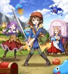 3girls :d ;d bag bandanna bare_shoulders bat belt blue_sky boots breasts brown_hair chest clouds commentary_request cosplay crown day dragon_quest dragon_quest_viii drakee fang fireball green_eyes hero_(dq8) hero_(dq8)_(cosplay) highres hiiragi_kagami jessica_albert jessica_albert_(cosplay) king_slime knee_boots knees_together_feet_apart kusakabe_misao light_brown_hair long_hair lucky_star medea medea_(cosplay) minegishi_ayano mountain multiple_girls off-shoulder_shirt off_shoulder one_eye_closed open_mouth pouch purple_hair ruu_(tksymkw) shirt short_hair sky slime_(dragon_quest) smile sword violet_eyes wagon weapon whip