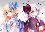 2girls ahoge blonde_hair blue_eyes braid carnelian eyebrows_visible_through_hair fate/apocrypha fate/grand_order fate_(series) floral_print flower hair_flower hair_ornament japanese_clothes jeanne_d'arc_(alter)_(fate) jeanne_d'arc_(fate) jeanne_d'arc_(fate)_(all) kimono long_braid long_hair looking_at_viewer multiple_girls obi sash silver_hair single_braid smile very_long_hair wide_sleeves yellow_eyes