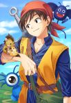 1boy 3others abiko_yuuji animal_on_arm bag bandanna bat belt bird_studio blue_sky blue_tunic brown_hair character_request cheese day dragon_quest dragon_quest_viii drakee eight_(dragon_quest) food handbag hero_(dq8) highres human male_focus monster mountain mouse outdoors road sky smile square_enix standing sword weapon