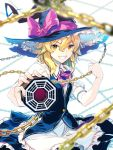 1girl apron blonde_hair braid chains grin hat hat_ribbon highres kirisame_marisa looking_at_viewer mini-hakkero neck_ribbon pointing_weapon ribbon short_hair single_braid skirt smile solo teeth touhou vest witch_hat yellow_eyes zounose