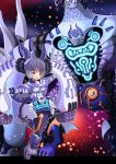 1girl :d aqua_eyes bangs blunt_bangs blush bob_cut breasts capelet comiket_91 commentary_request dual_persona duel_monster eyeball eyebrows_visible_through_hair garoudo_(kadouhan'i) gloves glowing headgear horns indiora_doom_volt_the_cubic_emperor lavender_hair leg_up looking_at_viewer open_mouth outstretched_arms personification short_hair smile standing standing_on_one_leg white_capelet white_gloves yu-gi-oh! yuu-gi-ou yuu-gi-ou_duel_monsters yuu-gi-ou_the_dark_side_of_dimensions